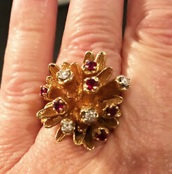 Estate Vintage 14k Gold With Genuine Ruby And Diamond Ring