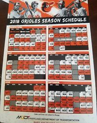2018 Baltimore Orioles Magnetic Schedule Sga Promo Promotion Giveaway Camden