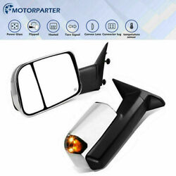 Tow Mirrors For 09-18 Ram 1500 2500 3500 Pair Power Heated W/temperature Sensor