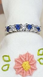 Platinum Band With Gorgeous Ceylon Sapphires And Natural Round Cut Diamonds
