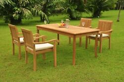Dsnp A-grade Teak 5pc Dining Set 71 Rectangle Table 4 Stacking Arm Chair Patio