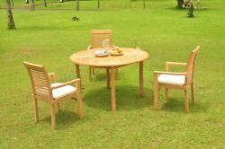 Dsms A-grade Teak 4pc Dining Set 52 Round Table 3 Stacking Arm Chair Outdoor