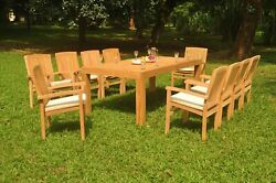 Dswv A-grade Teak 11pc Dining Set 86 Canberra Rectangle Table Stacking Arm Chair