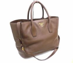 PRADA Tote Hand Shoulder Bag 2WAY Brown Gold Leather BN2694 Used Excellent++