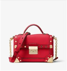 Michael Kors Cori Small Leather Trunk Bag bright red