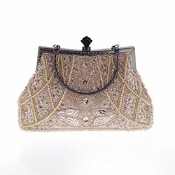 Vintage Beaded Sequined Women Evening Party Girls Bag Purse Clutch Champagne New