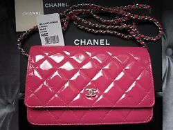 Brand New Chanel Patent Fuchsia Hot Pink Classic Wallet On Chain WOC Flap Bag