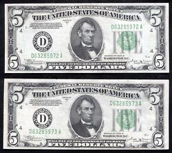 2 Consecutive Fr. 1958-d 1934-b 5 Frn's Cleveland, Oh Uncirculated Rare