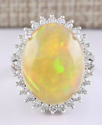 13.48 Carat Natural Multicolor Opal And Diamond 14k White Gold Cocktail Ring