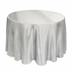 25 Packs 132 Inch Satin Round Tablecloth Wedding 25 Color 5' Ft Table Usa Sale