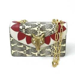 Gucci Python Leather Chain Shoulder Hand Tote Bag Broche White Gold Red Rare