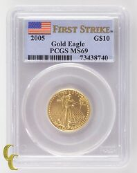 2005 Gold American Eagle G10 1/4 Oz Graded By Pcgs As Ms-69 First Strike