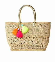 NWT!! Lilly Pulitzer Riviera Straw Tote Bracelet Bag Natural  Beach Pool Bag
