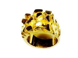 10kt Solid Yellow Gold Menand039s Nugget Design Fashion Ring 28 Grams 25mm
