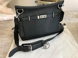 AUTHENTIC HERMES JYPSIERE BAG CLASSIC BLACK 34CM SILVER