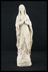 † Bvm Our Lady Of Lourdes Plaster Chalkware Immaculate Conception France 15.3/4