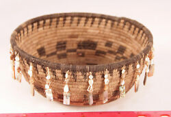 Pomo Style Basket With Shell Dangles By Enrique Arroyo 8 X 3 1/2 C.1980 Mint