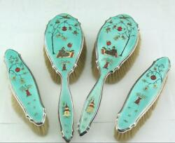 Glorious Art Deco Japanese Style Silver And Guilloche Enamel Dressing Table Set