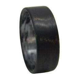 Carbon Fiber Ring With Silver Inlay- Handcrafted - Made In Usa- Sizes 4-16