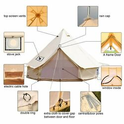 3m Cotton Canvas Family Camping Bell Tent Waterproof 4-season Glamping Bell Tent