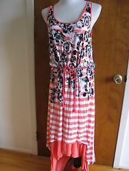 Kensie women's coral tang white combo lined dress size Large NWT