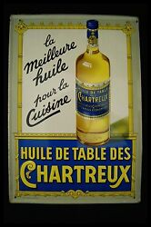 Vintage Licor Chartreuse Oil Kitchen Sign Painted Towel Anvers Schuybroek 1957