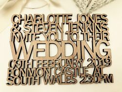 Personalised Wooden Wedding Invitations. Cut Out Text Info. Vintage Rustic.