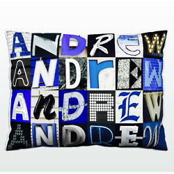 Personalized Pillow Featuring The Name Andrew In Photos Of Blue Sign Letters