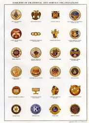 Emblems Of Fraternal And Service Organizations Print Free Shipping