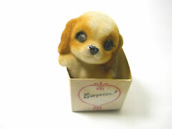 Vintage Mini Standing up Cocker Spaniel or Beagle Puppy inside gift box