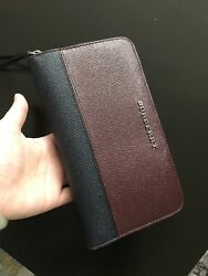 100% Authentic BURBERRY Women's BurgundyNavy Leather Zip-Around Wallet.  $600