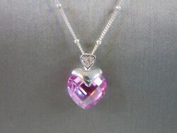 Womenand039s Vintage Estate Sterling Silver Necklace And 10k Heart Pendant 4.4g E1611