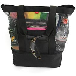 Aruba Mesh Luggage Beach Tote Bag With Insulated Picnic Cooler (Black)