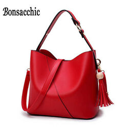 Small Women's Shoulder Female Bucket for Girls Red Leather Bags Women Handbags