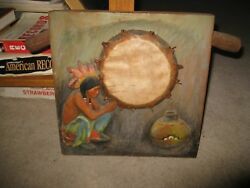 Bas Relief Native American With Hide Drum And Pot On Wood Block Couse Incredible