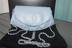 NEW Chanel Blue Caviar Leather SHW Wallet on Chain WOC