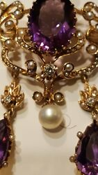 Broach Large Victorian Antique 14k Solid Yellow Gold Oval Amethyst Pin Pendant