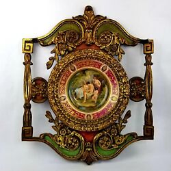 Signed Antique Royal Vienna Porcelain Plate In Ornate Gold Wood Rococo Frame
