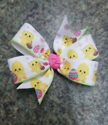 3inches Set of 2 Easter Pin Wheel Hair bow Alligator Clip non slip spring chick