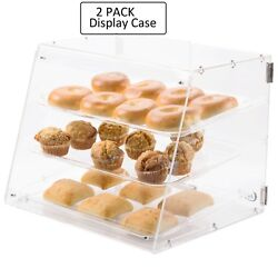 2 Pack - 3 Tray Choice Bakery Counter Display Case Rear Door Donut Pastry Hotel