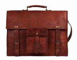 18 Inch GENUINE LEATHER Rustic Crossbody Messenger Courier Satchel Bag Gift M...