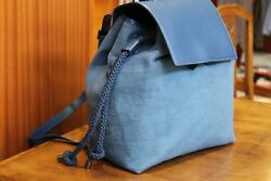 CARACTERE Women's Leather Blue Large Backpack Bag Made in Italy Adjustable Strap
