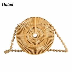 OUTAD 2018 Summer Handmade Hollow Out Woven Bamboo Bag Beach Straw Shoulder Bags