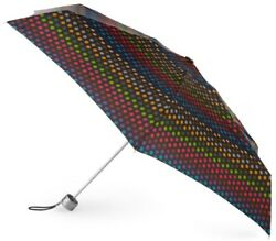 Totes Ladies Signature Micro Manual Compact Umbrella (Black Dot)