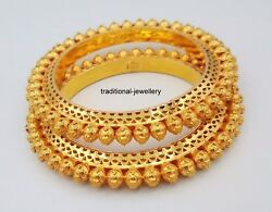 22k Yellow gold traditional bangle bracelet pair beads ball pattern tribal gold
