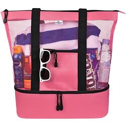 Mesh Beach Tote Bag Insulated Picnic Cooler and Zipper Top Large Pink