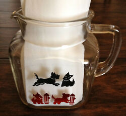 Vtg Federal Glass Scottish Terrier Dog Pitcher Scottie Dog Red Blk Fire Hydrant