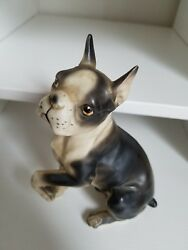 NAPCOWARE ? Japan VINTAGE BOSTON TERRIER SITTING WITH PAW UP figurine
