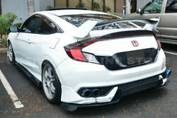 For 16-up Civic Coupe 2dr Type R Style Rear Trunk Spoiler W/ Add-on Duckbill