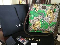 GUCCI Bengal Tote Bag Shoulder GG Supreme Tiger Animal ALESSANDRO MICHELE Auth